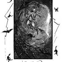 A witch rides a broom in a stormy sky surrounded by a devil and night creatures