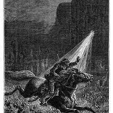 A man rides a galloping horse at night as a flash of light suddenly shines on him