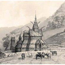 View of Borgund Stave Church with cows on the road in the forefront