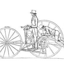 Diagram showing the project of a two-wheeled vehicle operated by two people