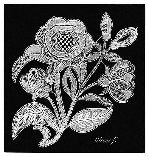 Lace design showing camellia flowers, leaves, and buds