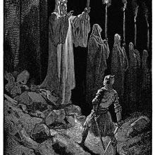 A man knight stands facing a towering and spectral figure holding a candle