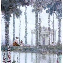 A couple is engaged in idle talk on a riverbank with a temple in the background