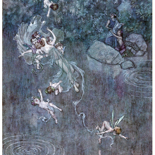 A fairy is seen floating in mid-air with her suite of putti over a lake