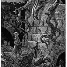 A knight standsat the foot of a wall over which a monster is poking its head