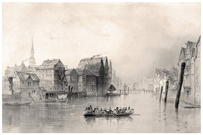 View of Binnenalster Canal in Hamburg, before the Great Fire of 1842