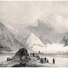 The mountainous and icy landscape of Spitsbergen as seen from Magdalena Bay