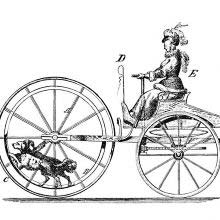 Diagram of a dog-powered vehicle driven by a woman