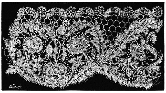 Lace design showing poppy and briony flowers forming an intricate pattern