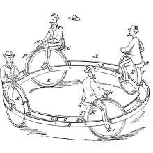 Device designed for the amusement of children made of four velocipedes connected to a ring