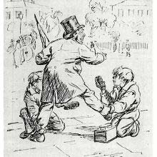 A man having his shoes shined by two boys struggles to keep his balance
