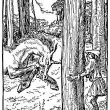 Charging a man hiding behind a tree, a unicorn drives its horn into the wood