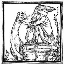 A gnome is sitting on a flat stone and scratches a cat under the chin