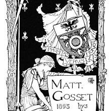 Bookplate showing a woman holding a sign and, behind her, a coat of arms