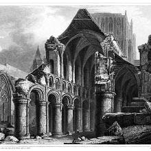 The nave of Hereford Cathedral after the 1786 fall of the western tower
