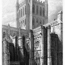 View of the tower and north transept of Hereford Cathedral