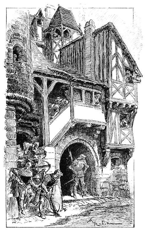 A sentry is keeping watch at the entrance of a half-timbered building