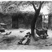 A child in a courtyard is reclining against a tree and holding a baby in his lap