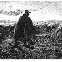 A shepherd stands with his flock in a level landscape in the late afternoon