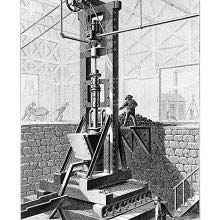Stamp mill used to crush ore prior to extracting metal