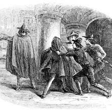A man has a cloak flung over his head by a gang lead by a figure wearing a mask