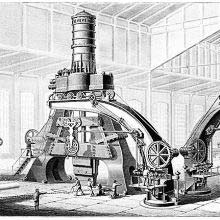 Perspective view of the eighty-ton steam-hammer used at Le Creusot, France