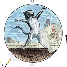 A cat stands on her hind legs on a roof, holding a bullet in her paw