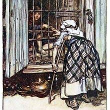 An old woman with a crutch stands before a cage where a boy is kept prisoner