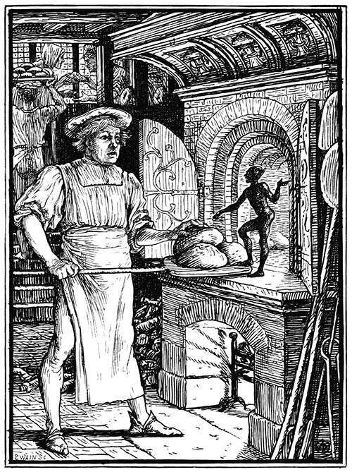 A baker about to put bread in the oven discovers a spirited imp