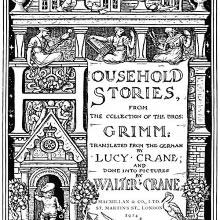 Title page for Household Stories showing a boy with a large key entering a house