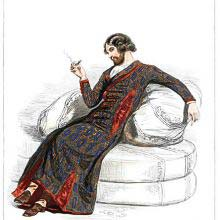 Fashion plate showing a man in a stylish dressing gown reclining on cushions