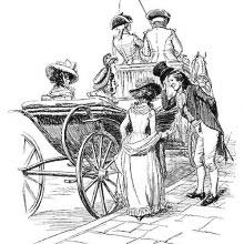 A man raises his hat to a young woman about to join her friends in a carriage