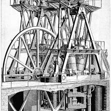 Perspective view of the steam pumping engine designed by E. D. Leavitt Jr.