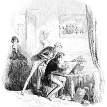 A man is sitting at a table drawing while another stands behind him watching