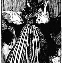 A woman holds a magic wand in one hand and a severed head in the other