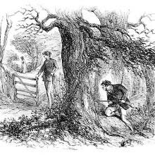 A man is hiding with a rifle behind a tree, waiting for another to come his way