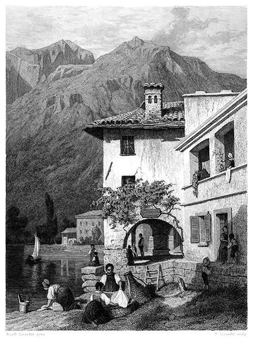 Lago di Como, Menaggio Como Bellagio Original-Holzstich von 1891 Varenna