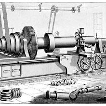 Flat-bed lathe manufactured by William Sellers & Co, Philadelphia.