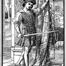 A man carries a pearl necklace at the point of his sword while pulling a curtain