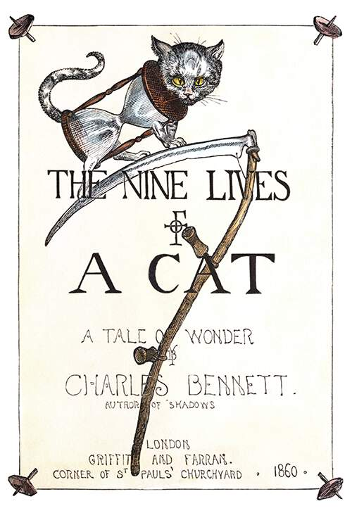 Front cover of The Nine Lives of a Cat showing a cat standing on a scythe