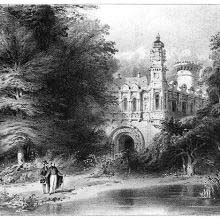 Two men stand by a pond as a fancy castle can be seen in the background