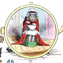 A cat wearing a red dressing gown and a mob cap is sitting with a bowl on its lap and its feet in a bucket