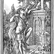 A man reaches the top of a tower climbing up a woman's hair