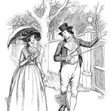 A man takes a walk with a woman carrying a parasol and gestures a gate