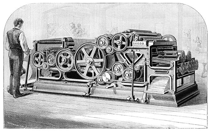 Perspective view of the Scott rotary web press