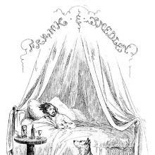 Half-title page for Lewis Arundel showing a man lying in bed not looking well
