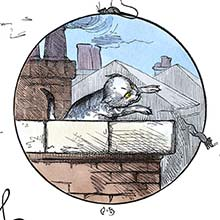 A cat chasing mice on a roof is about to jump over the parapet