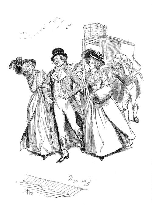 Two cheerful women have taken the arms of a man looking pleased with himself