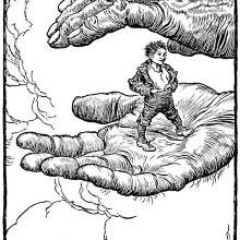 Tom Thumb stands poised on the palm of a coarse and hairy hand
