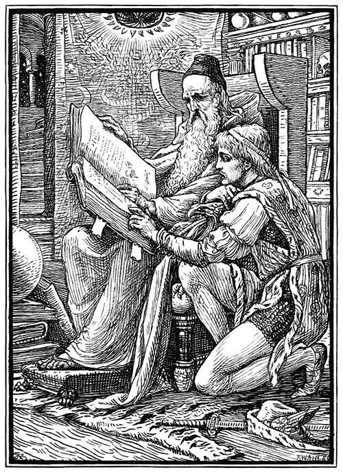 An old man is sitting with a large book from which he reads with a younger man
